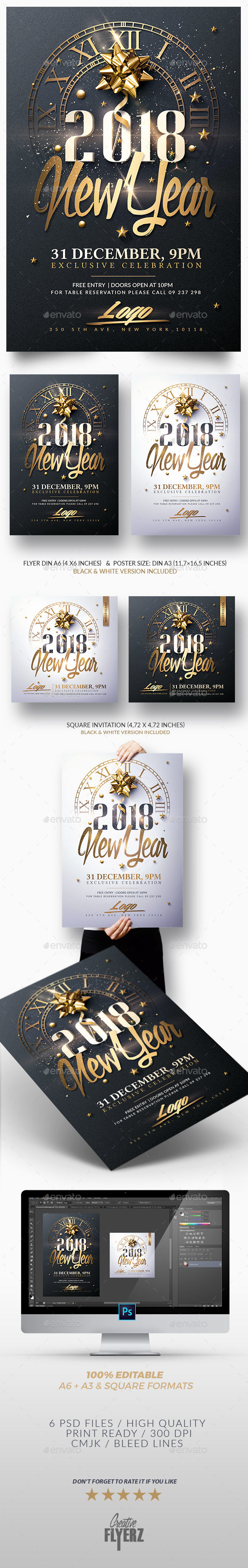 New Year Invitation - Psd Package - Print Templates