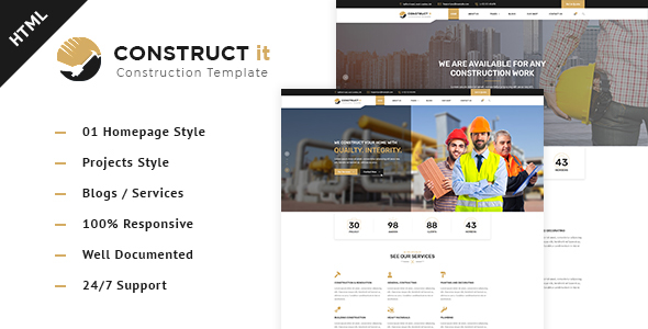 Construct It - Factory / Industrial / Construction Html Template - Business Corporate