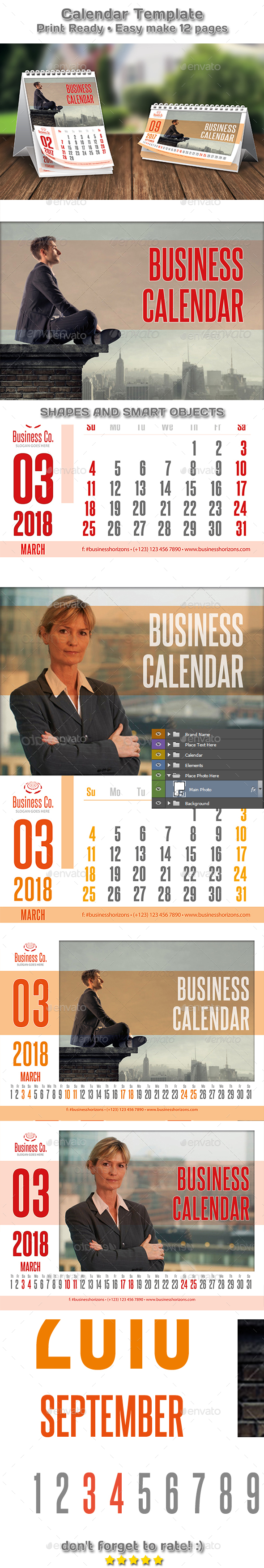 Modern Business Two Styles Calendar 2018 Template