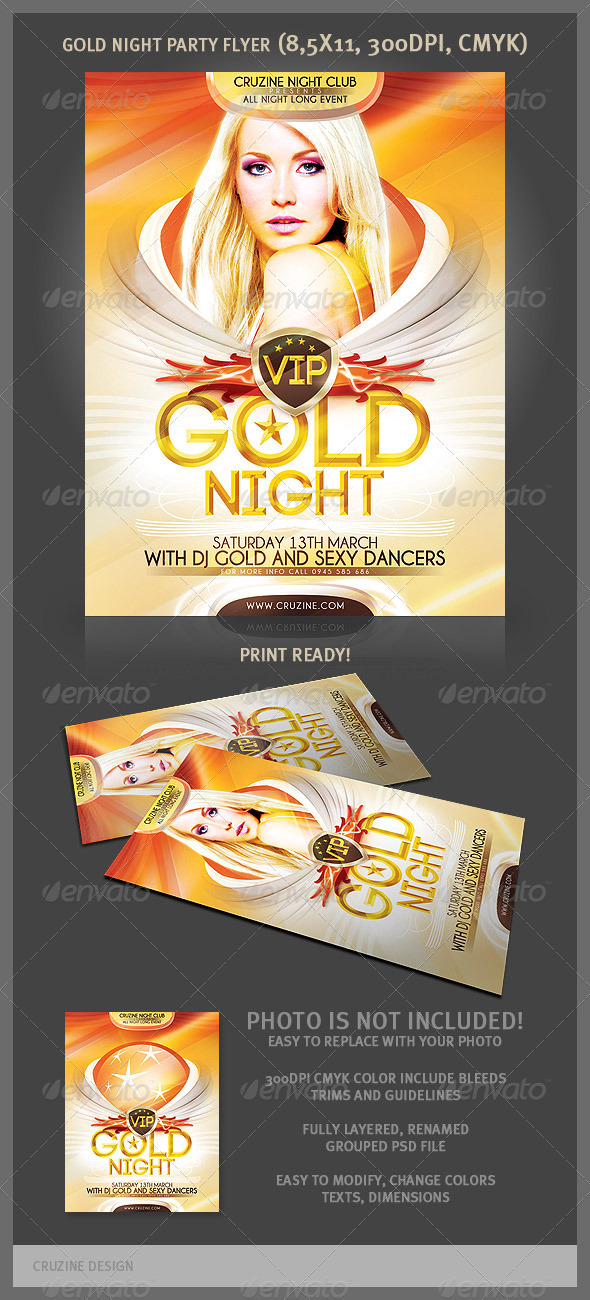 Gold Night Party Flyer - Clubs & Parties Events