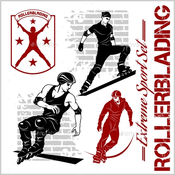 Rollerblading Emblems - Sports/Activity Conceptual