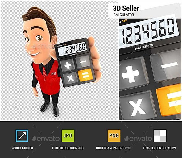 3D Seller Holding Calculator - Characters 3D Renders