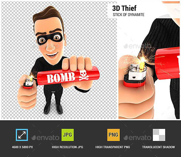 3D Thief Lighting a Stick of Dynamite - Characters 3D Renders