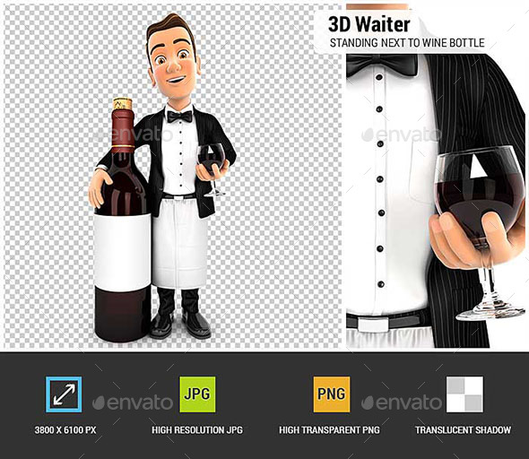 3D Waiter Standing Next to Red Wine Bottle - Characters 3D Renders