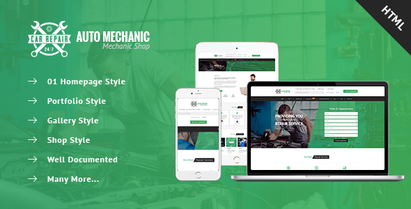 ThemeForest Auto Mechanic Services & Repaires HTML Template 20866607