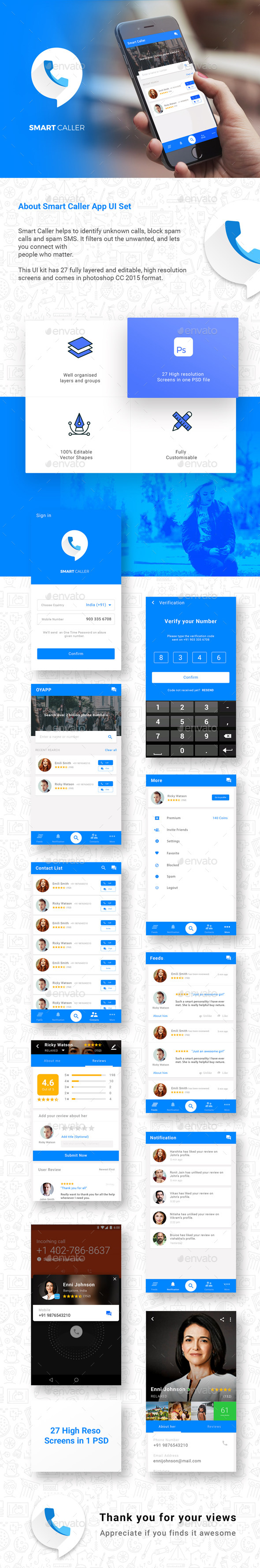 Caller ID & Chatting App like Truecaller |  Smart Caller  |  Modern Design - User Interfaces Web Elements