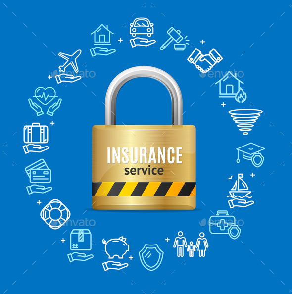 GraphicRiver Insurance Service Round Design Template Line Icons 20866807