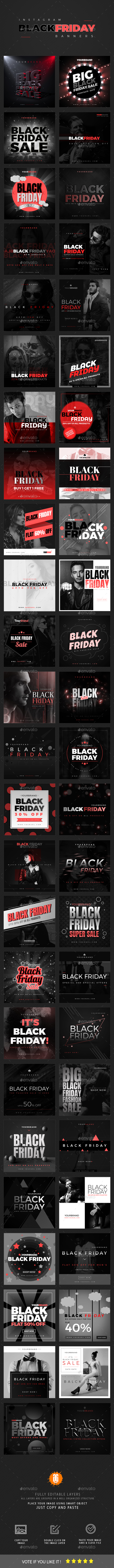 GraphicRiver 50 Black Friday Instagram Banners 20867383