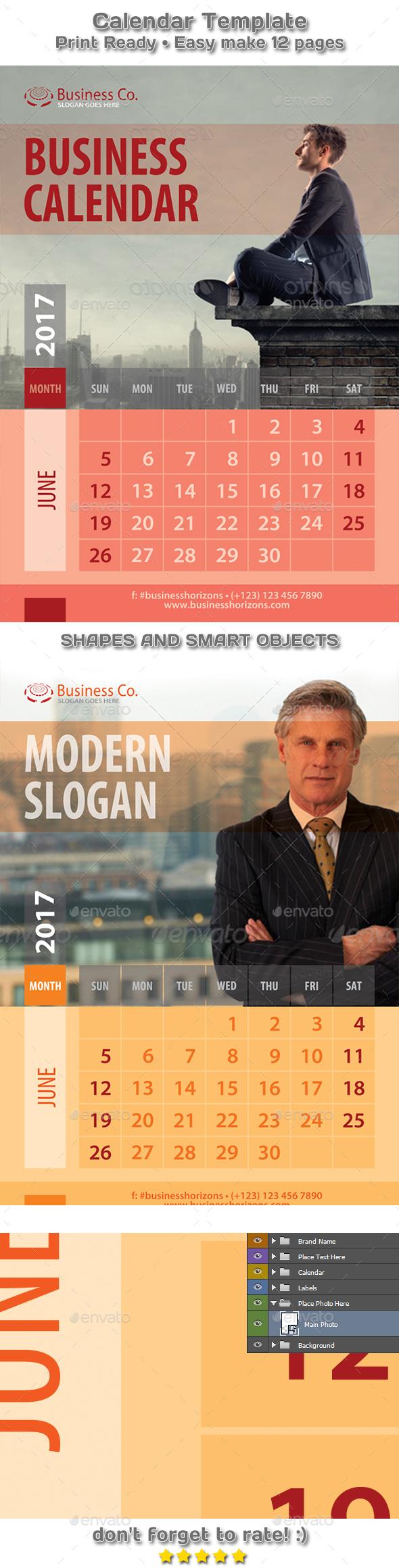 Modern Business Style Calendar 2018 Template - Calendars Stationery