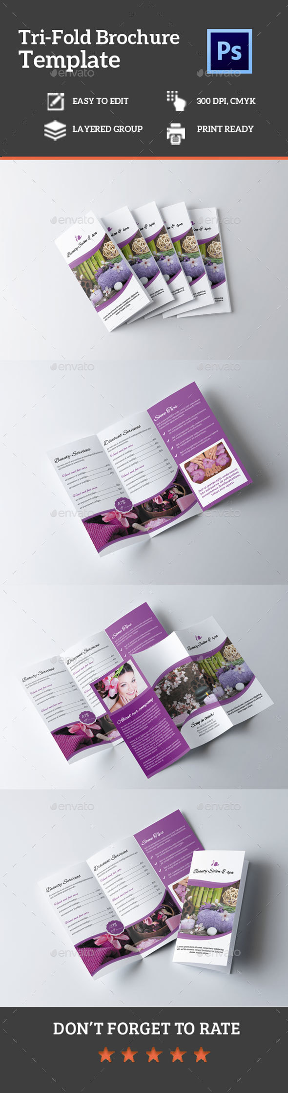Beauty Salon Tri-fold Brochure - Brochures Print Templates
