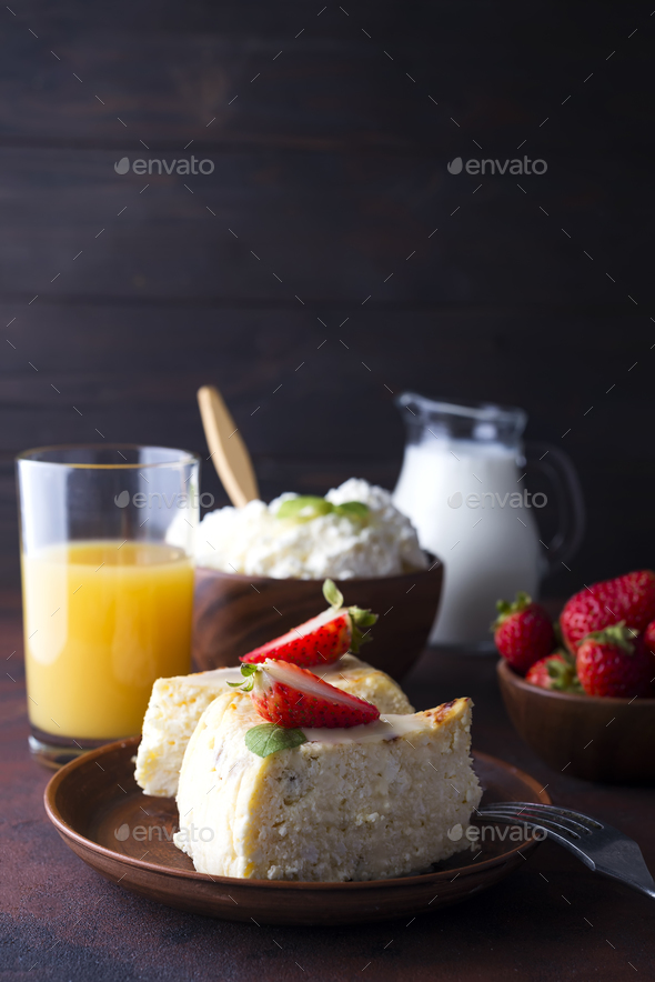 Breakfast table with healthy tasty ingredients. - Stock Photo - Images