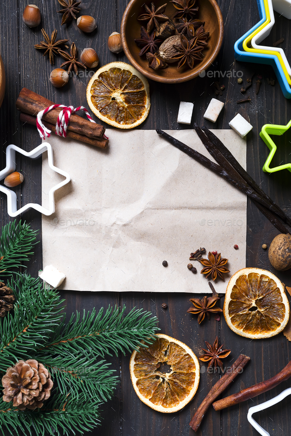 Ingredients for cooking Christmas gingerbread cookies - Stock Photo - Images