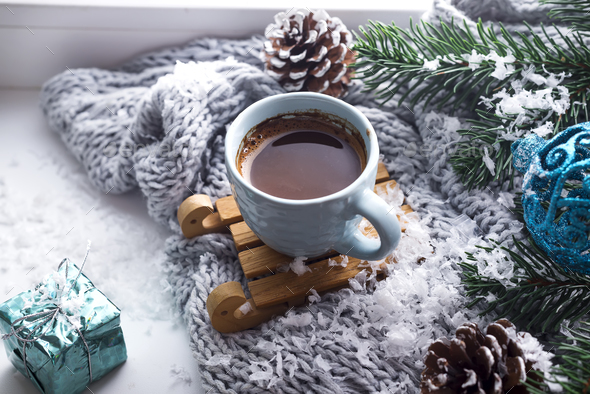 blanket with a cup of coffee - Stock Photo - Images