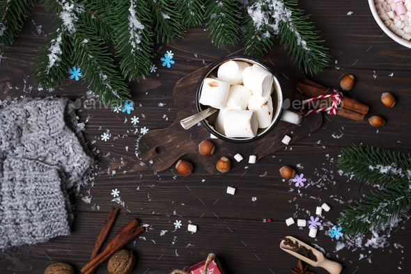 Christmas tree branches with cup of hot cocoa marshmallow - Stock Photo - Images