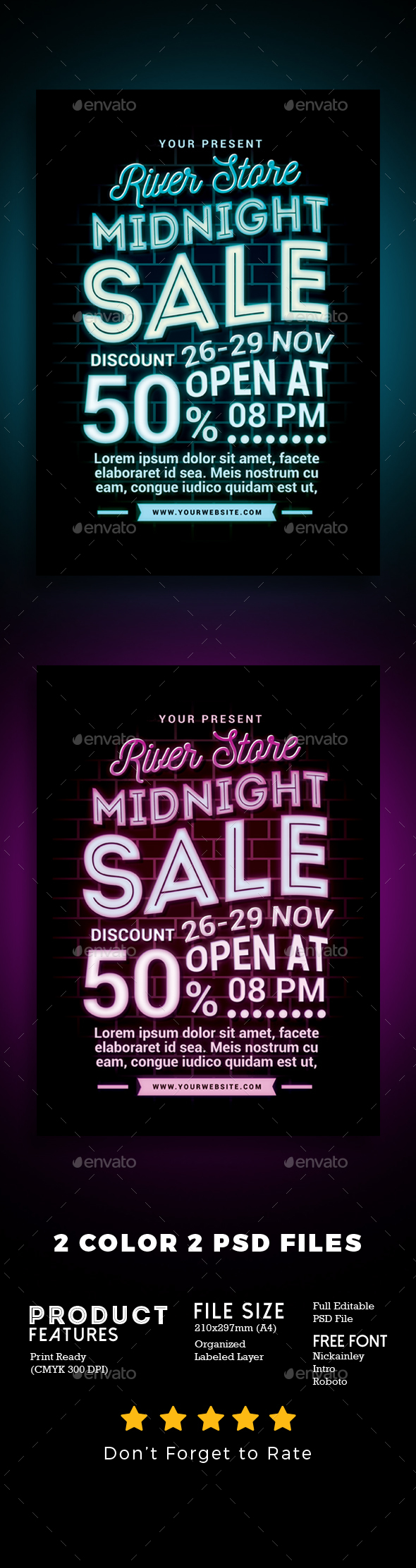 Midnight Sale Flyer Poster - Events Flyers