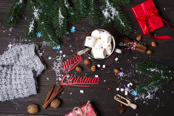 Christmas tree branches with Christmas toys and cup of hot cocoa marshmallow - Stock Photo - Images