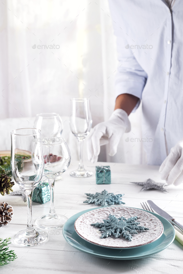 Table served for Christmas dinner - Stock Photo - Images