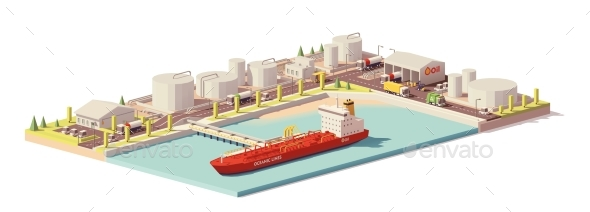 Low Poly Oil Depot and Oil Tanker Ship - Man-made Objects Objects