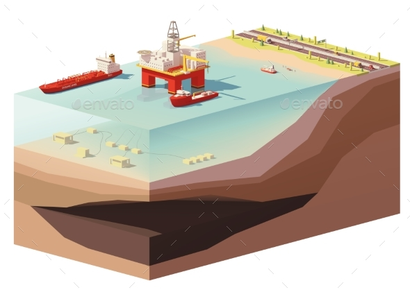 GraphicRiver Low Poly Offshore Oil Rig Drilling Platform 20868039