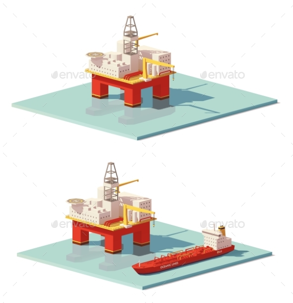 Low Poly Offshore Oil Rig Drilling Platform - Man-made Objects Objects