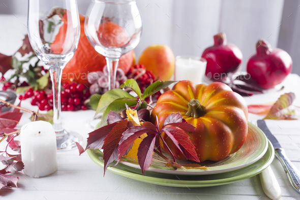 Autumn table setting with pumpkins. - Stock Photo - Images