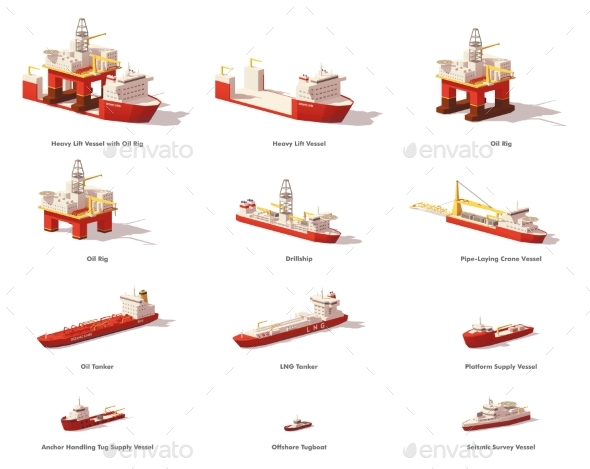 GraphicRiver Vector Low Poly Offshore Oil Exploration Vessels 20868050
