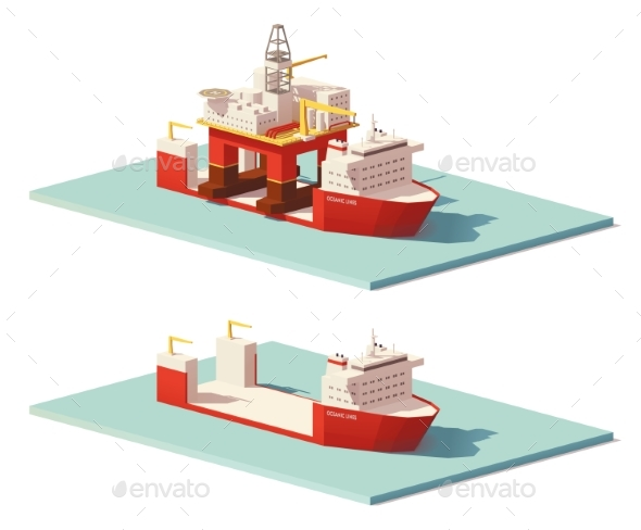 Low Poly Heavy Lift Ship and Oil Rig - Man-made Objects Objects
