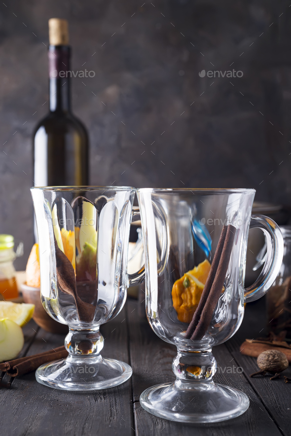 Mulled wine recipe ingredients - Stock Photo - Images