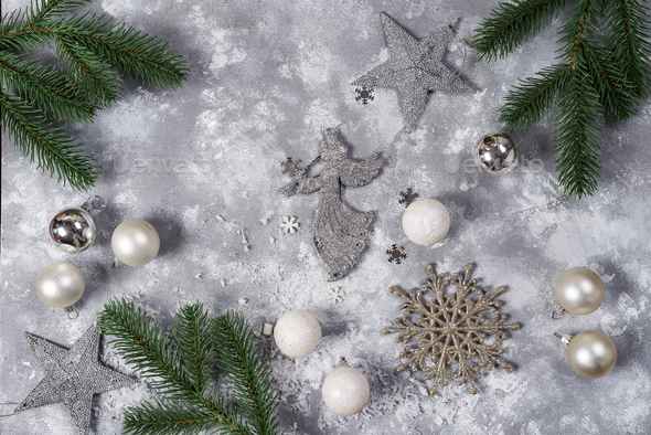 Christmas still life. Silver toys and decorative Christmas ornaments - Stock Photo - Images