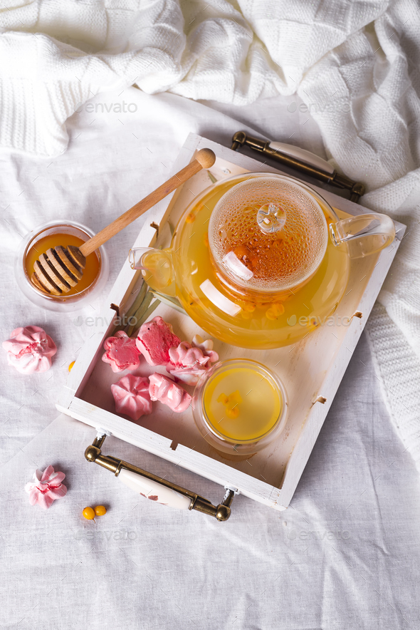 herbal tea on a wooden tray - Stock Photo - Images