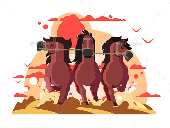Three Horses in Harness Running - Animals Characters