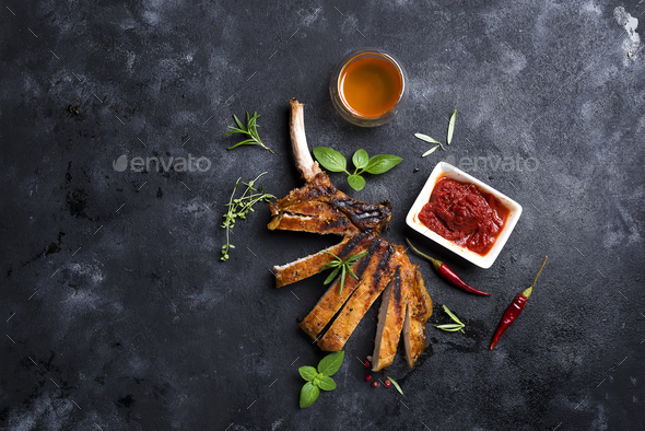 Grilled sliced beef steak - Stock Photo - Images