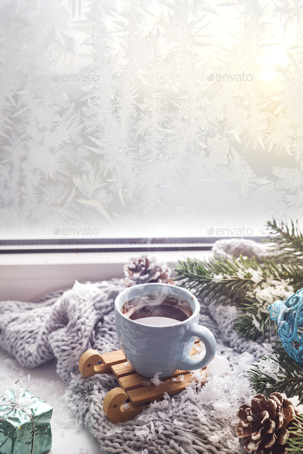 cozy soft gray blanket with a cup of coffee - Stock Photo - Images