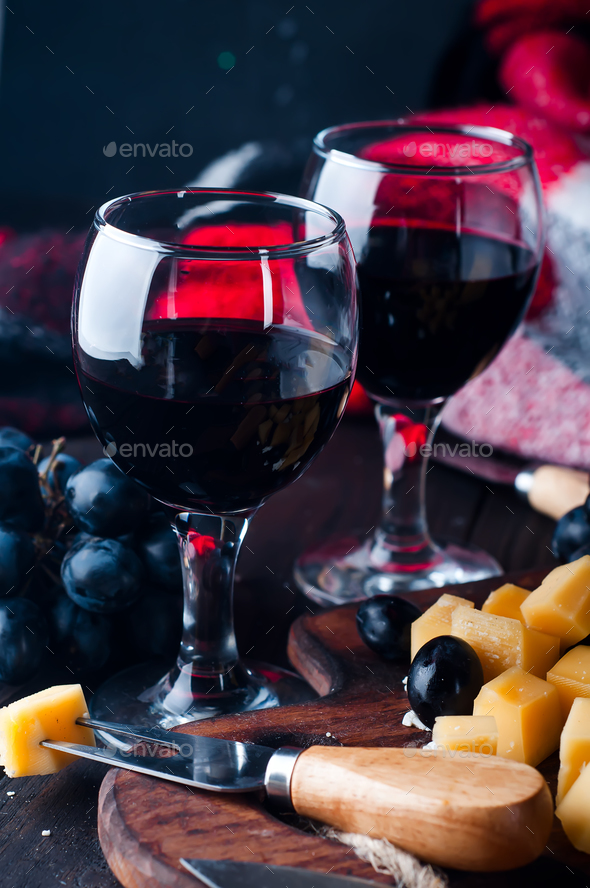two glasses of red wine - Stock Photo - Images