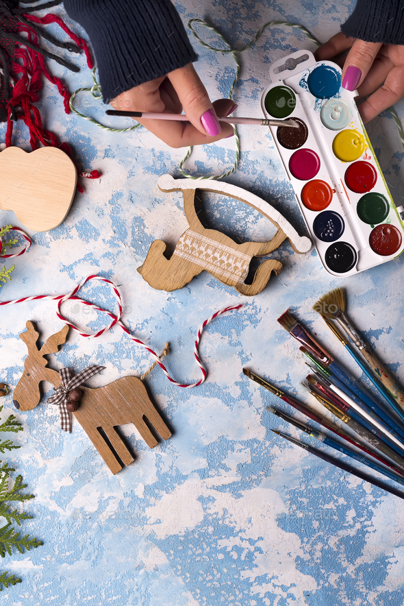 Making toys for Christmas decorations - Stock Photo - Images
