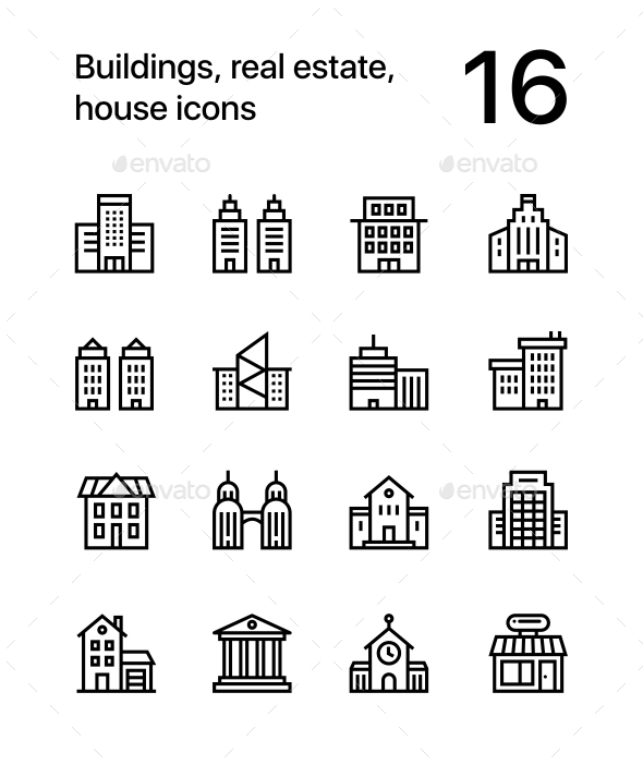 Building, Real Estate, House Icons for Web and Mobile Design Pack 1 - Buildings Objects