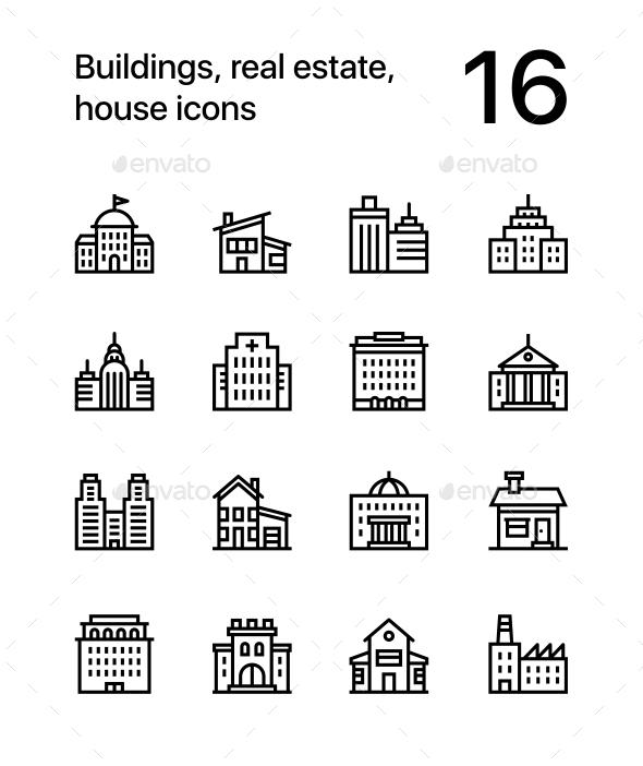Building, Real Estate, House Icons for Web and Mobile Design Pack 2 - Buildings Objects