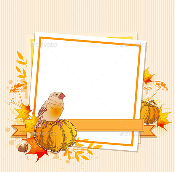 Background with Pumpkins and Bird - Seasons Nature