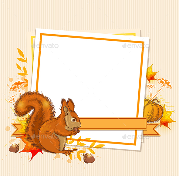 GraphicRiver Autumn Background with Squirrel 20868640