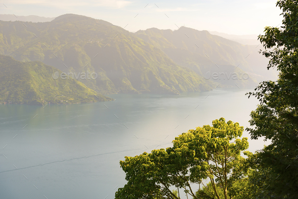 Lake Atitlan Jungle Sunrise - Stock Photo - Images