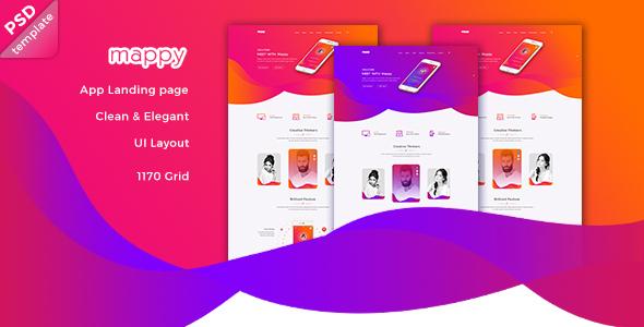 Mappy App Landing PSD Template - Creative PSD Templates