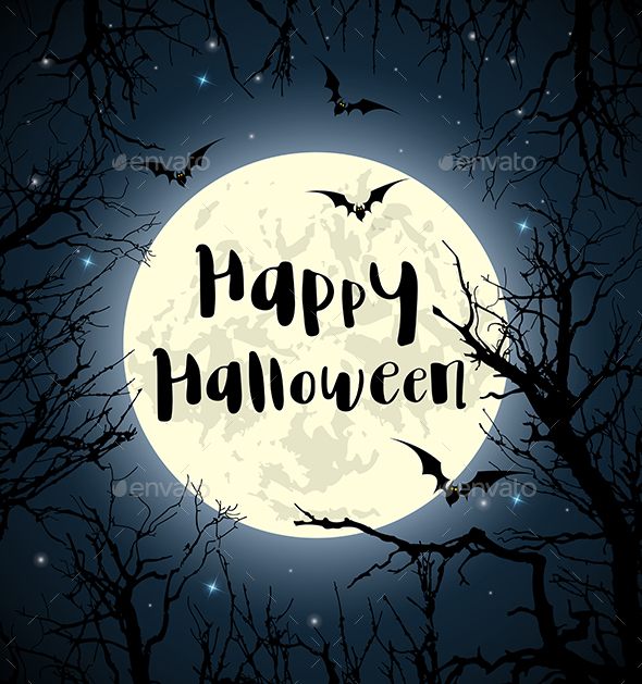 Halloween Greeting Card with Full Moon - Halloween Seasons/Holidays