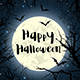 Halloween Greeting Card with Full Moon