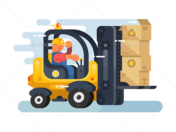 Storekeeper Loader Forklift Flat Design - Man-made Objects Objects