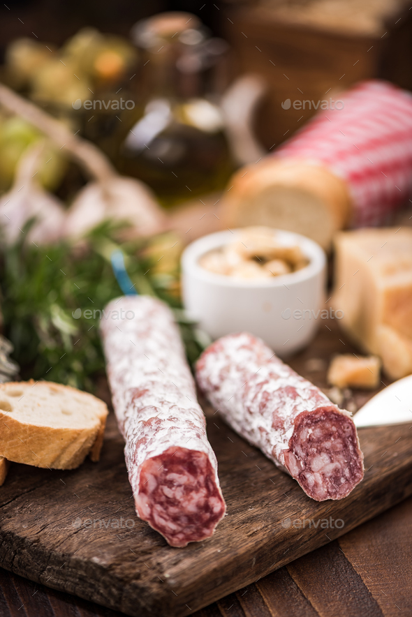 Regional salami sausage, tapa bar food - Stock Photo - Images