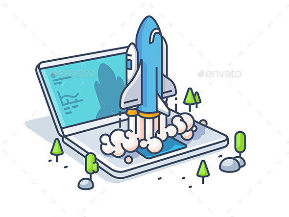 Starting Startup with Laptop - Miscellaneous Vectors