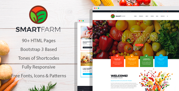SmartFarm - Eco and Organic Farming/Gardening HTML template with Page Builder - Food Retail