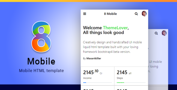 Download 8-Mobile bootstrap 4 mobile html template            nulled nulled version