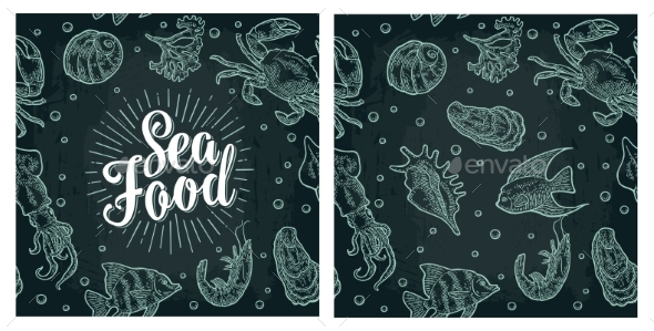 Sea Food Lettering and Seamless Pattern Shell - Animals Characters