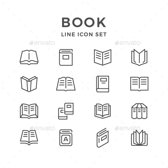 Set Line Icons of Book - Man-made objects Objects
